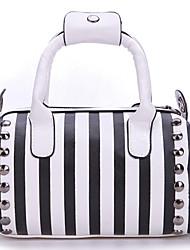 Motte Woman'S  Black And White Diagonal Shape Handbag Ns