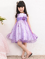Girl's Cotton/Polyester Sweet Leisure  Embroidery Sleeveless Braces Skirt