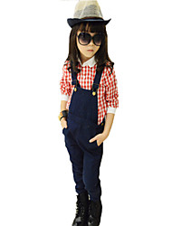 Girl's Clothing Sets Denim Suspenders Cotton Shirt Overalls Pants Jeans Casual Dungarees Plaid Blouse T-shirt Tee