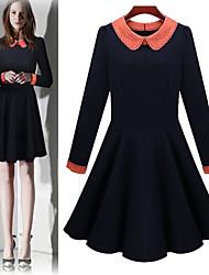 Women's Color Block Blue Dresses , Bodycon Shirt Collar Long Sleeve