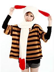 ZIQIAO Cute Rabbit Pattern 3-in-1 Soft Plush Warmer Scarf Glove Cap Set