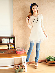 Women's Round Sweaters , Cotton/Knitwear/Lace Sexy/Casual/Party/Work Long Sleeve N.D.Y