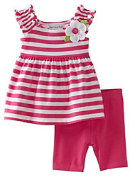 Girls' Summer Clothing Sets Sleeveless Stripe Flowers Top + Half Pants Fashion Twinsets (Cotton)