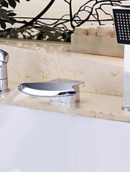 Contemporary Design Waterfall Wall-mounted Oil-rubbed Bronze Bathroom Tub Faucet with Hand Shower