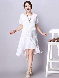 Women's Round Neck Dress , Cotton/Linen Above Knee Short Sleeve