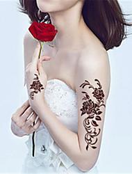Yimei - Tatuajes Adhesivos - Non Toxic/Waterproof - Series de Flor - Mujer/Hombre/Adulto/Juventud - Marrón - Papel - 5 - 20.5*10.5cm -