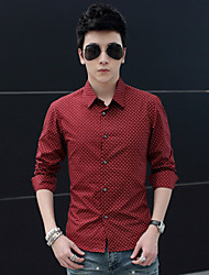 Men's Casual/Work/Formal Long Sleeve Regular Shirt (Cotton) washing iron business casual cotton printing Slim