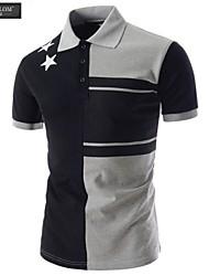 JESUNLOM®Man's Polo Shirt Fashion Short Sleeve Color Blocking Slim T-Shirt Korean Style Summer Casual Sport Polo Shirt