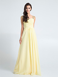 Lanting Bride® Floor-length Chiffon Bridesmaid Dress Sheath / Column Queen Anne Plus Size / Petite with Criss Cross