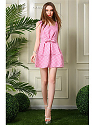 Women's Polka Dot Dress , Sexy/Party Square Neck Sleeveless