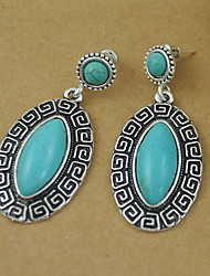 Retro Oval Turquoise Earring