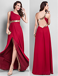 TS Couture Prom / Military Ball / Formal Evening Dress - Burgundy Plus Sizes / Petite Sheath/Column One Shoulder Floor-length Chiffon