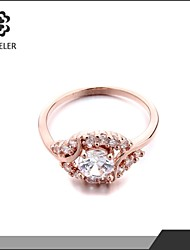 Sjeweler Ladies Girls Rose Gold Plated Zircon Wedding Ring