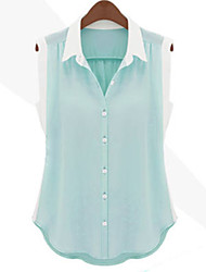 Women's Sexy Casual Cute Work Inelastic Sleeveless Regular Shirt (Chiffon)