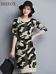 Women's Casual/Print Stretchy Thick Long Sleeve Dress (Knitwear) SF7F14