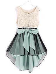Girl's Cotton/Polyester Sweet Leisure Color Block  Short Sleeve Jumper Skirt