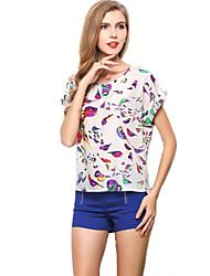 Women's Loose Birds Print Chiffon Blouse Summer Tops T-shirt Bat Sleeve Pullovers Tee Shirt
