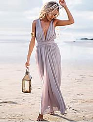 Women's Solid Color Gray Dresses , Sexy / Beach V-Neck Maxi