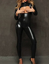 Zentai Suits Uniforms Zentai Cosplay Costumes Black Solid Catsuit PU Leather Female Halloween / Christmas / New Year