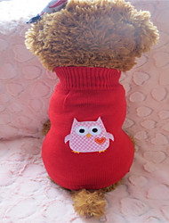 Dog Sweater Red Dog Clothes Winter Embroidered Fashion