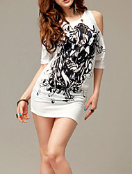 Donna aderente sexy Print Blouse