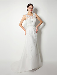 A-line Wedding Dress - White Sweep/Brush Train Scoop Organza