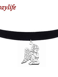 "Cozylife 3/8"" Girls Black Velvet Gothic Collar Vintage Choker Necklace with Angel Baby Pendant"