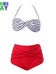 Damen Bikinis  -  Hochgeschnitten Push-Up Nylon/Polyester Halfter
