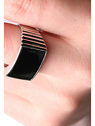 Men's Party/Casual Alloy Europe Style Simple Black Gemstone Stripe Statement Ring
