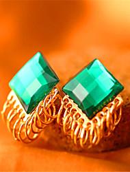 Korean Retro Emerald Cut Gemstone Stud Earrings Gemstone & Crystal Stud Earrings Hot Sale 2015