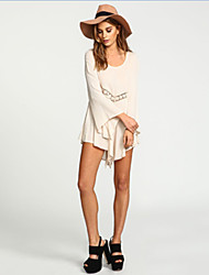 Women's Sexy/Casual/Party Round Long Sleeve Dresses (Chiffon)