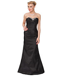 Formal Evening Dress - Black Sheath/Column Strapless Floor-length Taffeta