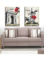 Prints Poster Landscape The Eiffel Tower Art Picture Pictures Print On Canvas  2pcs/set (Without Frame)