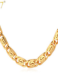 U7® Men's Gold Snail Chain 2015 New Trendy Men Jewelry 18K Gold Plated Cool Classic Chain Necklaces