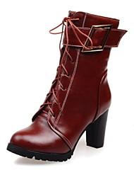 Calçados Femininos Courino Salto Grosso Arrendondado/Botas da Moda Botas Escritório & Trabalho/Social/Casual Preto/Branco/Vinho
