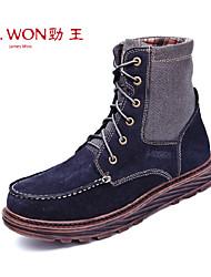 Zapatos de Hombre Exterior/Oficina y Trabajo/Casual Cuero Botas Azul/Marrón
