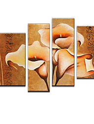 VISUAL STAR®Tulip Flower Oil Painting Hand-Painted Canvas Wall Art Handmade Oil Painting Four Panels Ready to Hang