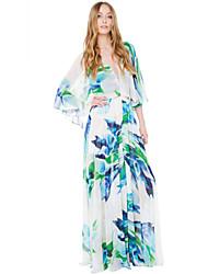 Mulheres Vestido Maxi Decote em V Profundo Fenda Mulheres