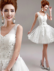 A-line Wedding Dress Short / Mini V-neck Tulle