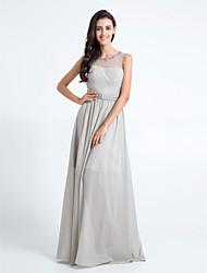 Floor-length Chiffon Bridesmaid Dress - Silver Sheath/Column Scoop