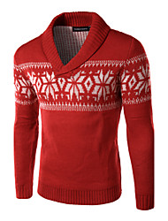 Men's V-Neck Sweaters , Cotton / Cotton Blend Long Sleeve Casual Fashion Winter / Fall YTFT