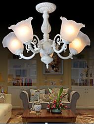 montagem em cinco luzes 220v branco clássico retro europeu