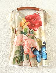 Meng Fei Lu Women's Classical Rose Print Casual Stretchy Short Sleeve Regular T-shirt