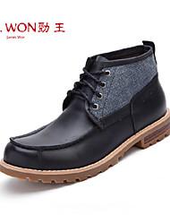 Zapatos de Hombre Exterior/Oficina y Trabajo/Casual Cuero Botas Negro/Marrón