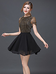 Women's Vintage Party Micro Elastic Short Sleeve Above Knee Dress (Chiffon)