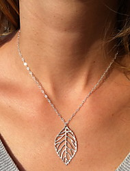 Contracted Natural Leaves Short Metal Necklace