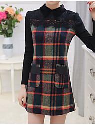 Women's Plaid/Patchwork/Color Block Multi-color Dress , Casual/Plus Sizes Shirt Collar/Peter Pan Collar Long Sleeve Lace