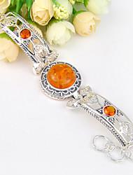 2015 antique redondos pulseiras âmbar Brasil citrine gem cadeia 0,925 prata pulseiras para a festa de casamento do feriado diariamente 1