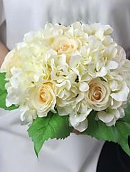 """11.4 """"h hortênsia e rosa flor artificial para decoração e buquê de casamento 1 maço"""