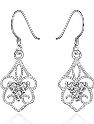 Lovely Silver Plated Clear Crystal Hollow Flower Drop Earrings for Party Women Jewelry Accessiories